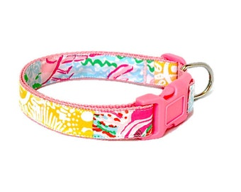 Dog Collar Made from Lilly Pulitzer Maine State Patch Fabric on Pink Size: Your Choice