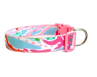 Dog Collar Made from Lilly Pulitzer Jellies Be Jammin Fabric Size: Your Choice