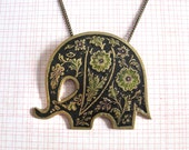 Reserved for Jan - Enameled Elephant Necklace - large vintage enameled brass elephant pendant with flower design with 28 inch long chain