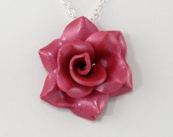 Magenta Rose Pendant - Simple Rose Necklace - Magenta Pink Rose Necklace - Handmade Wedding Jewelry - Polymer Clay Rose Pendant - #243