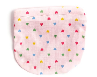 Pink loveheart kids coin purse