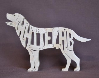 Silver OR White OR Charcoal  Lab Labrador  Dog Puzzle Wooden Toy Hand Cut with Scroll Saw