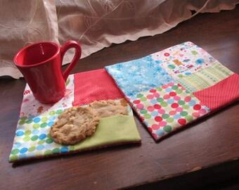 MOVING SALE!! Square Christmas Mug Rugs Set of 2, with Pockets, Riley Blake Fabric