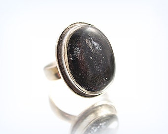 Charcoal Ring Grey Look Ring Cast Resin Silver Plated  Ring One of a kind