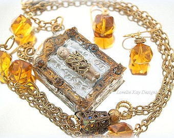 Elegant Mixed Media Frozen Charlotte Necklace & Earring Set Soldered Assemblage One-of-a-Kind Assemblage Pendant