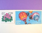 Postage Stamps Unused Vintage, Hot Air Balloon Stamp, Pink Flowers Stamp, Mail 10 Letters, RSVPs, or Cards, 1 oz envelope, 49 cents postage