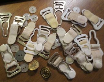 Vintage 1950's Garter Belt Straps Hooks Buttons