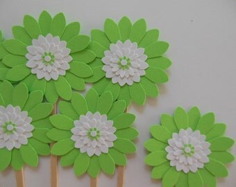 Flower Cupcake Toppers - Lime Green and White Daisies - Girl Birthday Parties - Bridal Showers - Weddings - Girl Baby Showers