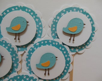 Bird Cupcake Toppers - Aqua - Gender Neutral Baby Showers - Child Birthday Parties - Set of Six