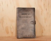 Personalized Leather Notebook - Moleskine Journal in the Typeset Pattern in Antique Black - Custom Inscription