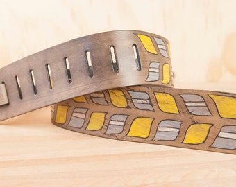 Roger Guitar Strap - Leather in yellow, gray, white and antique black