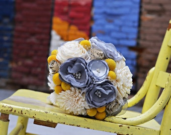 Yellow and gray wedding bouquet, Fabric flower and vintage sheet music bridal bouquet, Craspedia, billy ball, burlap and sola wood bouquet