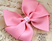 "Pink Hair Bow - Basic Bow - Large 4"" Hairbow"