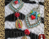 """Unique ' Lovey Dovey """" Day of the Dead  Religious Love Birds Earrings by Killerdolly666"""
