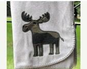 SALE Camo Moose Grey Baby Boy Blanket Personalized
