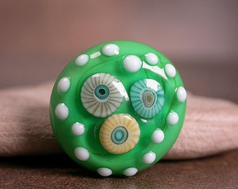 Interchangeable Lampwork Glass Ring Top Cabochon Spring Green with Murrini Divine Spark Designs SRA LETeam