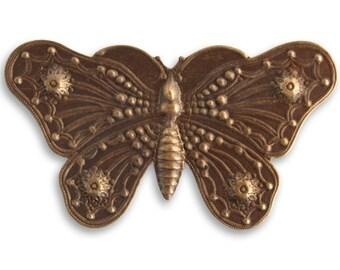SALE: Vintaj Natural Brass Butterfly Grandeur 69mm (No Hole) - 1 piece (EM0120)