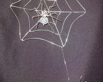 Spider Web with Crystal Spiders.