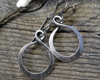Lovely Loops - sterling silver hoop dangle earrings