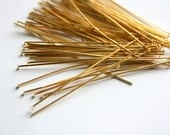 Gold Headpins, Gold Finish Metal Jewelry Supplies, 70 Pins
