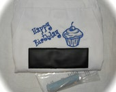 "Happy Birthday Chalkboard APRON Embroidery BBQ Barbecue 34"" Blue"
