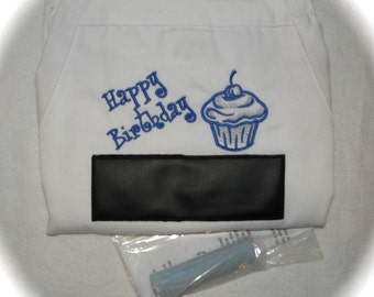 """Happy Birthday Chalkboard APRON Embroidery BBQ Barbecue 34"""" Blue"""