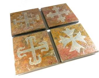 Stone Coasters: Historical Cross Coasters - 4 Etched Slate Coasters, Carved Slate Coasters, Drink Coasters, Christian Coasters, Cross Decor