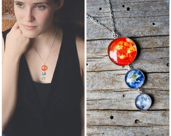Earth, Moon and Sun Sterling Silver Statement Necklace Pendant - Galaxy Space Jewelry by Yugen - Romantic Science Gift