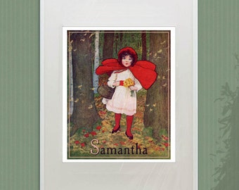 Vintage PRINT - Little Red Riding Hood - Personalized Girl's Room Decor