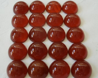 Gemstone Cabochons Carnelian Round 7mm FOR TWO