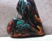 Hearts for Jenny Handmade Polymer Clay Heart Pendant - Electricity