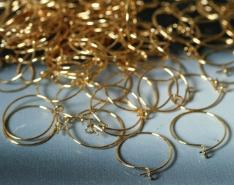 Earring, gold-plated brass, 12mm round hoop, 24 pcs (item ID F6595FD)