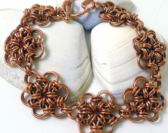 Copper Japanese 6 in 2 Flowers Chainmaille Bracelet