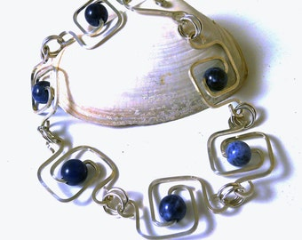 Sodalite and Sterling Silver Geometric Squares Bracelet