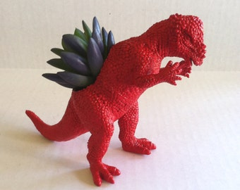 Red Dinosaur Planter Great Dorm Office Home Decor Gift for Get Well  Boss' Teachers