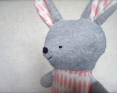 Bella Bunny - Plush Rabbit Doll - grey bunny with white and pink dress