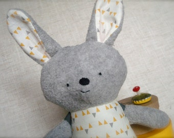 Bella Bunny - Plush Rabbit Doll - gray bunny with cream, grey, and yellow triangle print dress