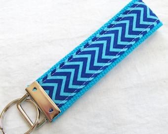 Wristlet Key Fob Key Chain - Mini Aqua & Navy Chevron Zig Zag Stripe - Fabric Keychain