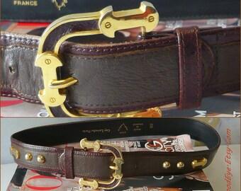 Vintage Guy LAROCHE Wide Leather Belt w GOLD Metal Studs Designer Paris France waist 31 -33 inch Dark Chocolate Brown