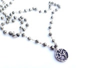 Pyrite and Silver Vintage Button necklace