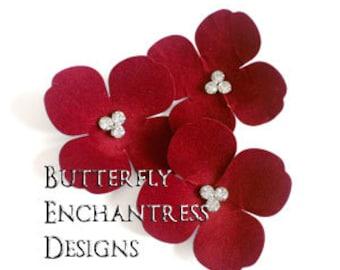 Red Wedding, Bridal Hair Accessories, Hair Flowers - 3 Red Aurora Hydrangea Bobby Hair Pins