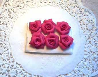 PUSHPin Fuchsia Handmade Clay Roses Set of 6 Thumbtacks SVFteam ECS sct schteam
