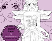 Digital Stamp - Printable Coloring Page - Fantasy Art - Fairy Stamp - Brinley - by Nikki Burnette - COMMERCIAL USE