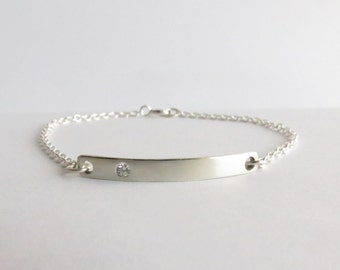 Minimalist Sterling Silver and Cubic Crystal Personalized Bar Bracelet