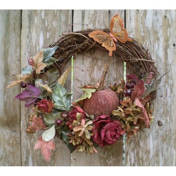 Home decor Autumn Fall floral grapevine wreath butterfly pumpkin flower arrangement