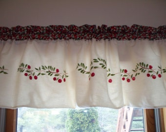 Maine made hand stenciled cranberry northwoods cabin decor lake lodge rustic curtain window valance