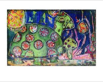 "Print- ""Turtle"" - Mixed Media Art, Turtle Animal Guide, Totem, Spirit Guide, Magical Creatures, Visionary Art"