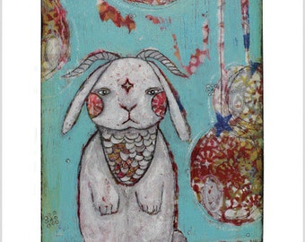 Warrior Rabbit #1 - Mixed Media Art Print