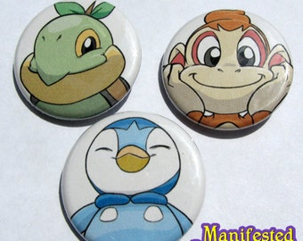 Pokemon Button Set - Turtwig, Chimchar and Piplup
