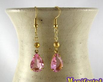 Pink Crystal Earring gold tone Princess Small Lady Serenity Sailor Chibi Moon Cosplay